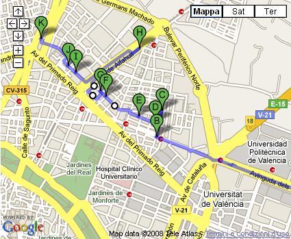 mappa della ciclocalles di Valencia
